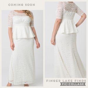 Kiyonna Lace Peplum Wedding Dress